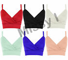 New Womens Cropped Plain Strappy V Neck Crop Top Vest Tank Bra let Top 8-14