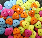 20 x Resin Bright Heart Buttons 15mm two holes sewing scrapbooking cardmaking