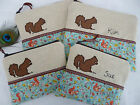 Cosmetic Bag Purse Squirrel, size choice & option to personalise, Teal and linen