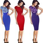 Womens Elegant Floral Crochet Frill Casual Work Party Evening Bodycon Dress 4076
