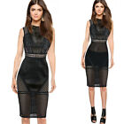 Women Sexy Hollow Out See Through Transparent Geometry Cool Chic Club Dress 4513