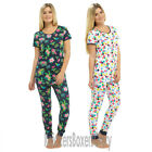 Ladies/Womens Cotton Tropical/Print Pyjamas Top & Leggings Blue/White Size 8-18