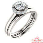 1.50ct White Round Cut Simulated Diamond 925 Silver Delicate Engagement Ring Set