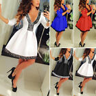 Womens Summer Casual Long Sleeve Skirt Dress  Skater Ladies Party Mini Cocktail❤