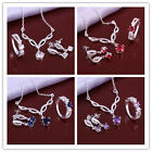 Fashion Solid Silver Plt Multi-color CZ crystal Necklace Earring Set jewelry