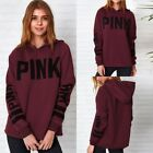 Womens Striped Letter Hoodie Sweatshirt Pullover Sweater Hooded Jumper Coat Tops