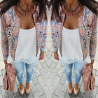 Fashion Womens Long Sleeve Floral Casual Blazer Suit Casual Jacket Coat Outwear