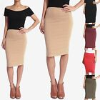 TheMogan Women's Basic Comfort Stretch Cotton Elastic Waist Knee Pencil Skirt