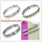 New Fashion Womens Men's 316L Stainless Steel Silver Gold Link Bracelet Jewelry