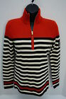 NWT Ralph Lauren Women Sweater half Zip Red and Black Stripe