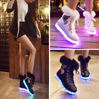 Xmas Women's Winter Warm Fur Leather Ankle Snow Boots LED Light Shoes Fashion