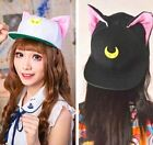 Sailor Moon Cat Luna Artemis Black White Harajuku Baseball Caps Canvas Hats ♫