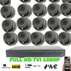 16Ch HD TVI Dvr & 16X 1080P Dome Camera IR 25M Night vision CCTV Security Kit