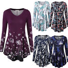 Women's Tops Tunic Floral Printed Casual Flared Loose Fit Long Sleeve Blouses