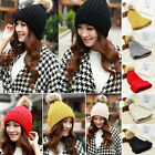 Womens Warm Knitted Beanies Caps Faux Fur Ball Pompom Hat Caps Solid Colors HOT