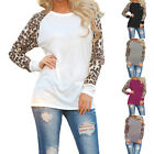 New Casual Womens Autumn Chiffon Leopard Loose Long Sleeve Blouse T-Shirt S-XXXL