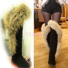 HOT Womens Big Fur Trim Winter Over The Knee High Boots Suede Snow Shoes Comfort