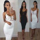 Womens Night Out Lace Bodycon Dress Ladies See Through Slip Dresses Size 6-16