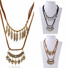 New Women Double Leather Cord Leaves Tassels Pendant Chain Statement Necklace