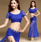 New Womens Lace Belly Dance Costume Set Indian Dancewear Cropped Tops Long Skirt