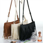 PU Leather Women Tassel Fringe Shoulder Messenger Handbag Cross Body Bag
