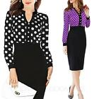 Cocktail Polka dot Womens Casual Slimming Ladies Fitted Party Dress UK sz 6-18