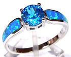 Blue Topaz & Blue Fire Opal Inlay Genuine 925 Sterling Silver Ring size 6,7,8,9
