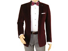 Mens Adolfo Velvet Blazer Two Button Dress Casual Stage singer C40893 Burgundy