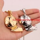 New Fashion Olympic Football Pendant Stainless Steel Gold Silver Men's Necklace