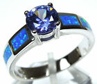 0.84 Carat Tanzanite & Blue Fire Opal Inlay 925 Sterling Silver Ring Size 6-9