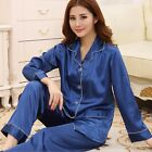 Women  Silk  Long Sleeve Sleepwear Loungewear Top+Pants Button Down  Pajamas Set
