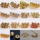 Big Hole Crystal Gold Tone Gemstone GEM Charm European Loose Beads Fit Bracelet