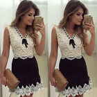 UK Womens Party Bodycon V Neck Dress Ladies Evening Lace Cocktail Dress White