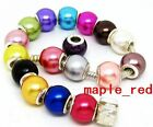 Mixed Fashion Imitation Pearl Silver Core big hole Beads Fit European Bracelet