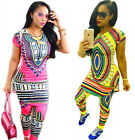 2PC Tops Shirt Pants Women African Dashiki Traditional Print Hippie Party Dress