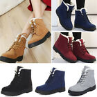 Women's Ladies Winter Flat Lace Up Fur Lined Sonw Boots Ankle Boots Shoes Size