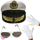 SEA CAPTAIN HAT GLASSES AND GLOVES MARINE SAILOR FANCY DRESS COSTUME ACCESSORY