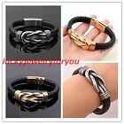 Fashion 10mm Silver or Gold Stainless Steel Men's Womens Black Leather Bracelets