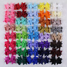 Lot 9pc~100pc 3inch Girls solid ribbon Hair Bows Alligator Clip(196 colors)-355