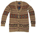 $698 Polo Ralph Lauren Womens Brown Wool Linen Silk Hand Knit Cardigan Sweater