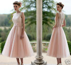 New Formal Lace Tulle Tea Length Wedding Short Bridal Gown Party Dress Size6-18+