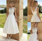 New White/Ivory Tea Length Short Lace Bridal Gown Wedding Dress Bridal Gown Size