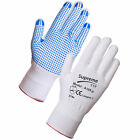20 PAIRS Nylon Safety Gripper Work Gloves | BLUE PVC Polka Dots | PPE Warehouse