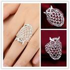 Size 7-8 Women's Fashion Ring Owl Wedding Silver Plated