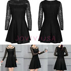 Womens Vintage Black Floral Lace Crew Neck Long Sleeve Cocktail Skater Dress