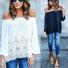 Sexy Women Off The Shoulder Long Sleeve T-shirt Casual Loose Tops Blouse Outwear
