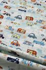 Children's Boys' Brushed Cotton Fabric Funky Colourful Blue White Cars