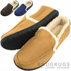 Mens Soft Fleece Slippers / Indoor Shoes with Warm Faux Fur Inners