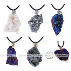 "1pc 19.5-21"" Irregular Geode Plating Stone Pendant Black Rubber Necklace Jewelry"
