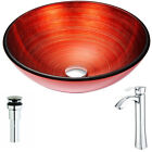ANZZI Echo Glass Circular Vessel Bathroom Sink with Faucet